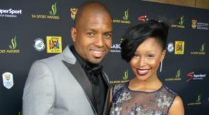 Sports Star of the Year Awardwinner Iutmeleng Khune(l) with TV Personality girlfriend Minnie Dlamini