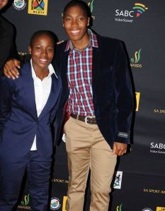 Tennis player Kgothatso Montjane and 800m champion Caster Semenya at the South African Sport Awards 2013 held in Sun City. Photo: Tsheko Kabasia