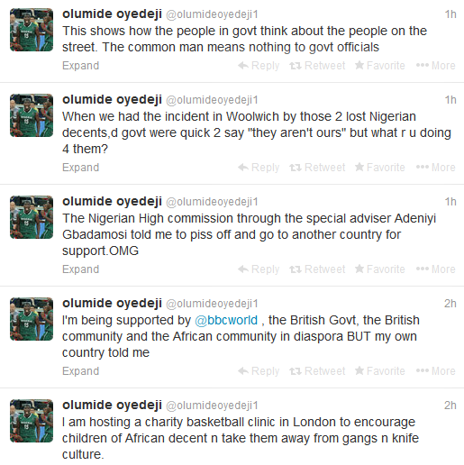 some of olumide's tweets showing his anger and frustration